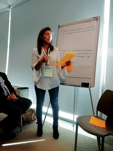 Filipa Setas, responsável de Marketing e Desenvolvimento da Lusosem, no Grupo de discussão da sala temática Cereais e Leguminosas da Agro Inovação 2018