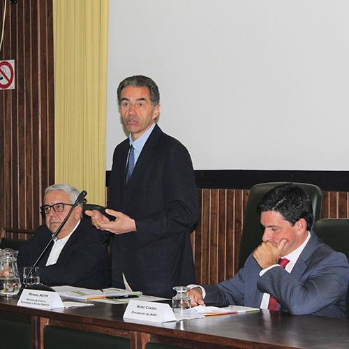 Manuel Heitor, e presidente do INIAV, Nuno Canada, na cerimónia de constituição do CNCACSA